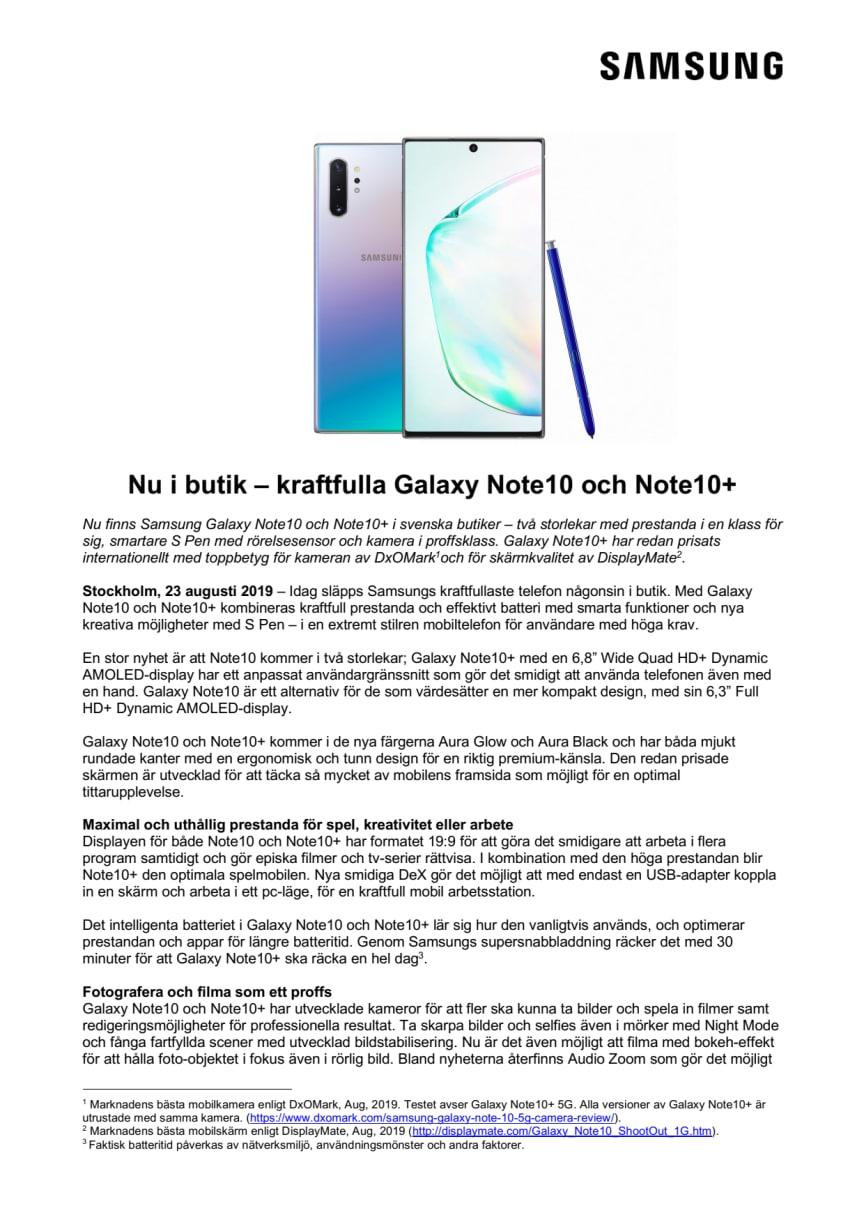 Nu i butik – kraftfulla Galaxy Note10 och Note10+