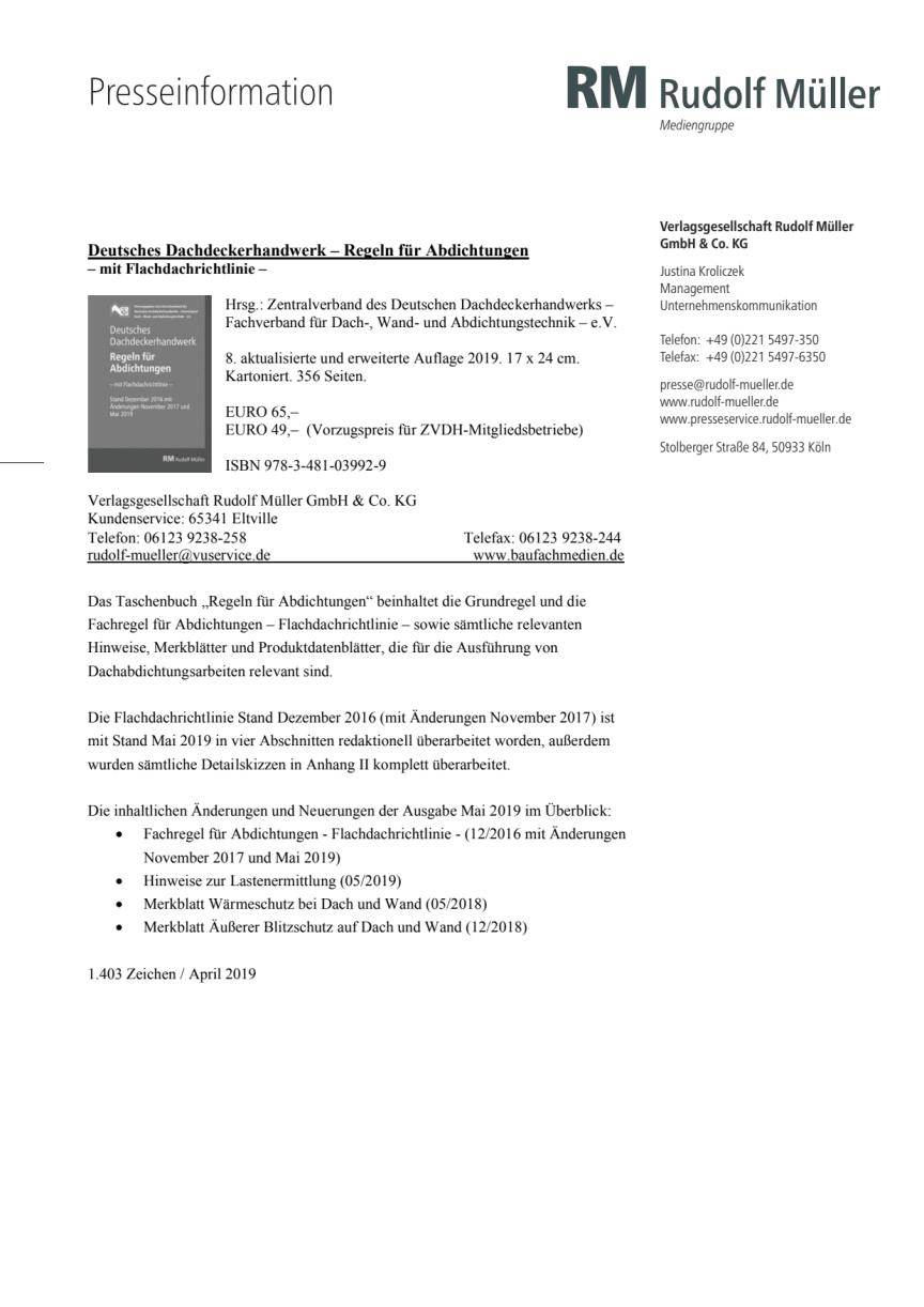 Regeln für Abdichtungen