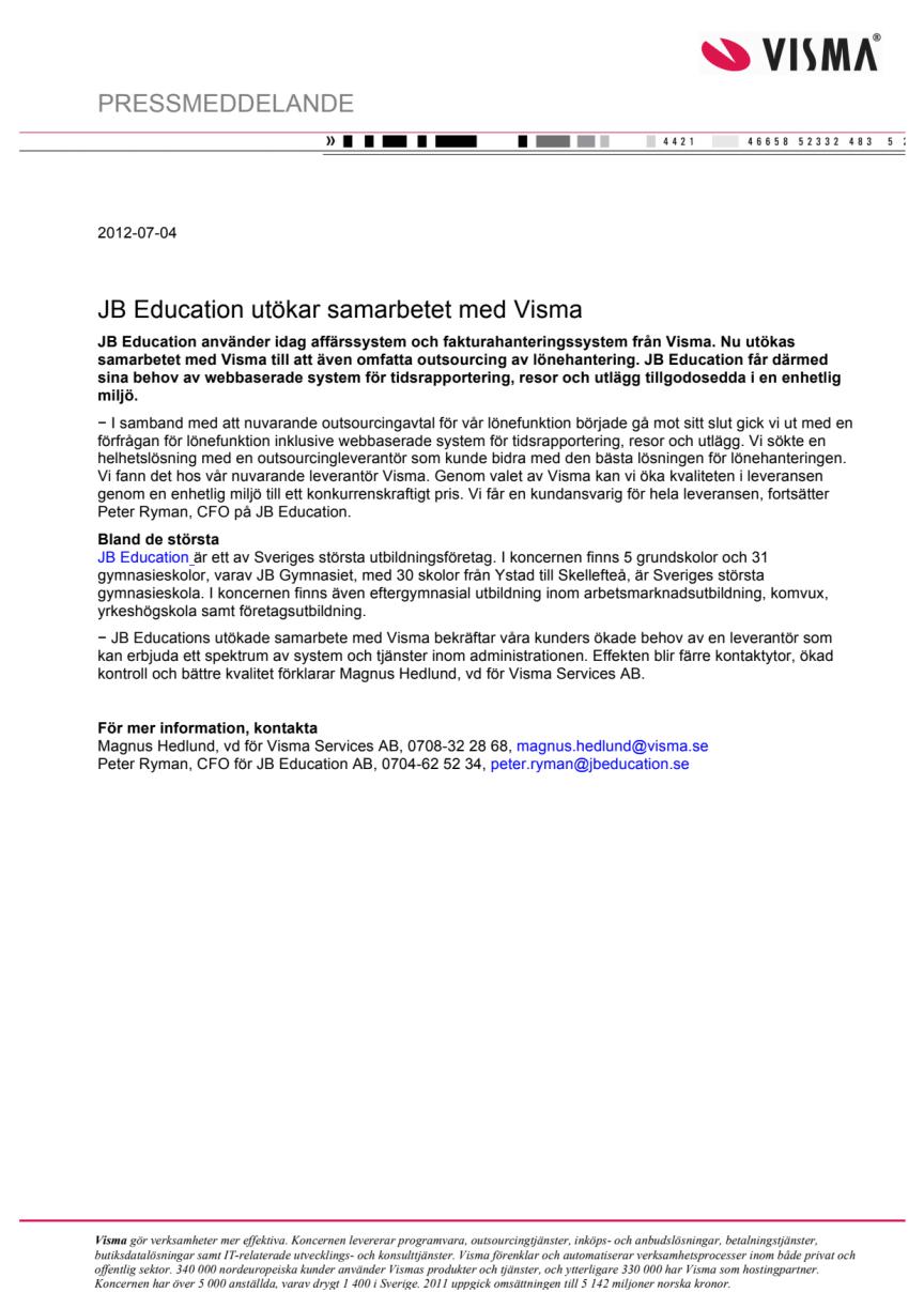 JB Education utökar samarbetet med Visma