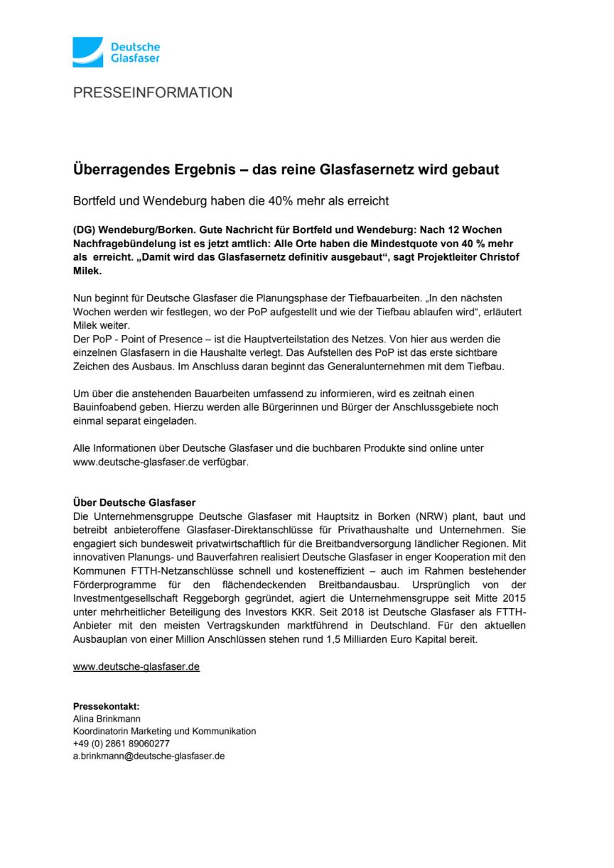 Überragendes Ergebnis – das reine Glasfasernetz in Bortfeld und Wendeburg wird gebaut