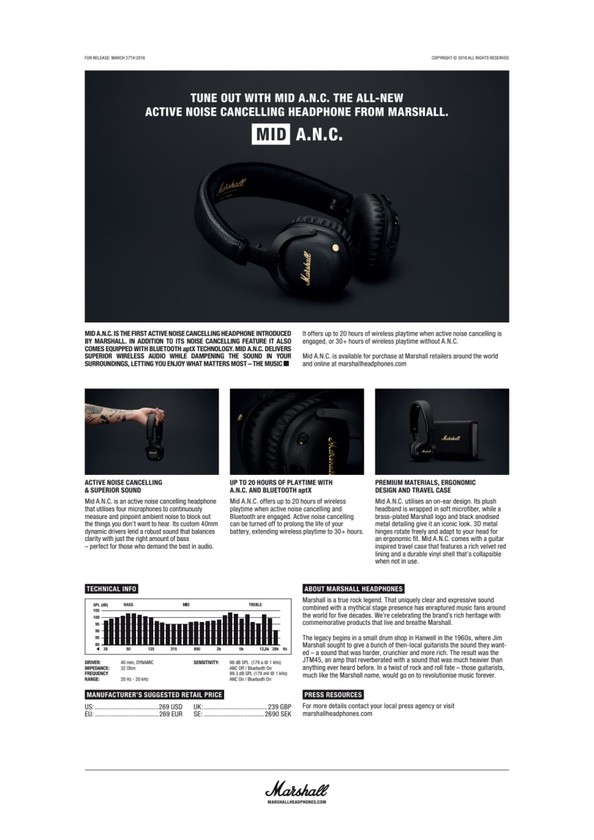 Tune Out with MID A.N.C the All-New Active Noise Cancelling Headphone from Marshall