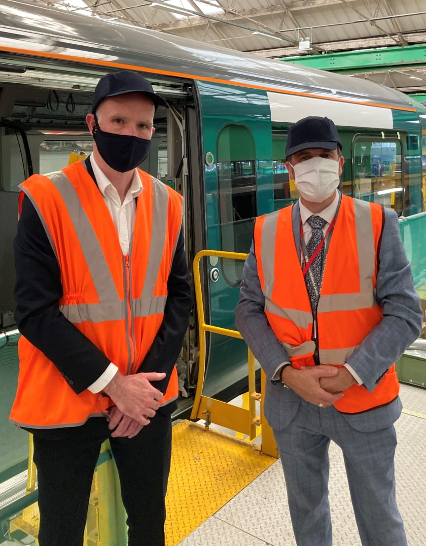 Matt Byrne, left, President UK & Ireland of Bombardier Transportation and Julian Edwards, right, managing director of London Northwestern Railway.