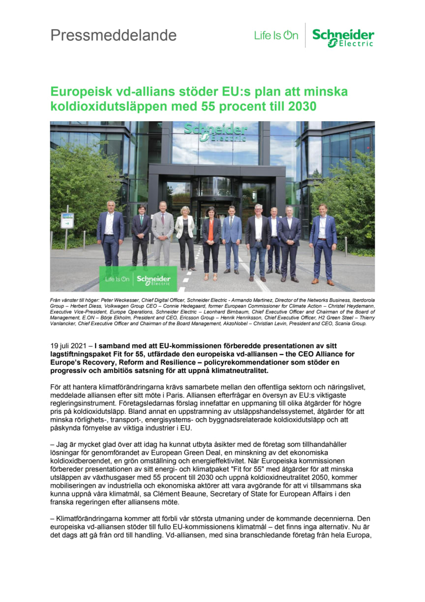 Europeisk vd-allians stöder EU:s plan att minska koldioxidutsläppen med 55 procent till 2030