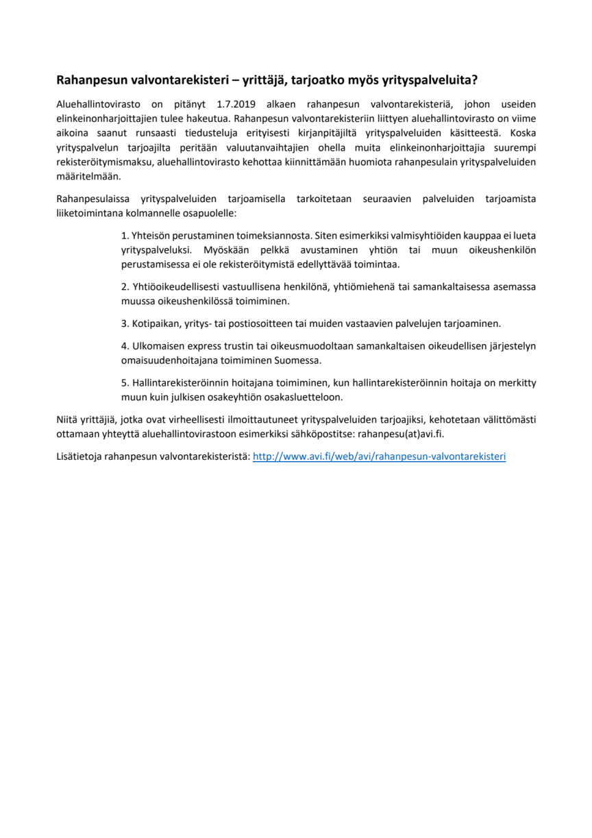 Muistutus: rahanpesun valvontarekisteriin ilmoittautuminen - useimmat tilitoimistot eivät tarjoa yrityspalvelua