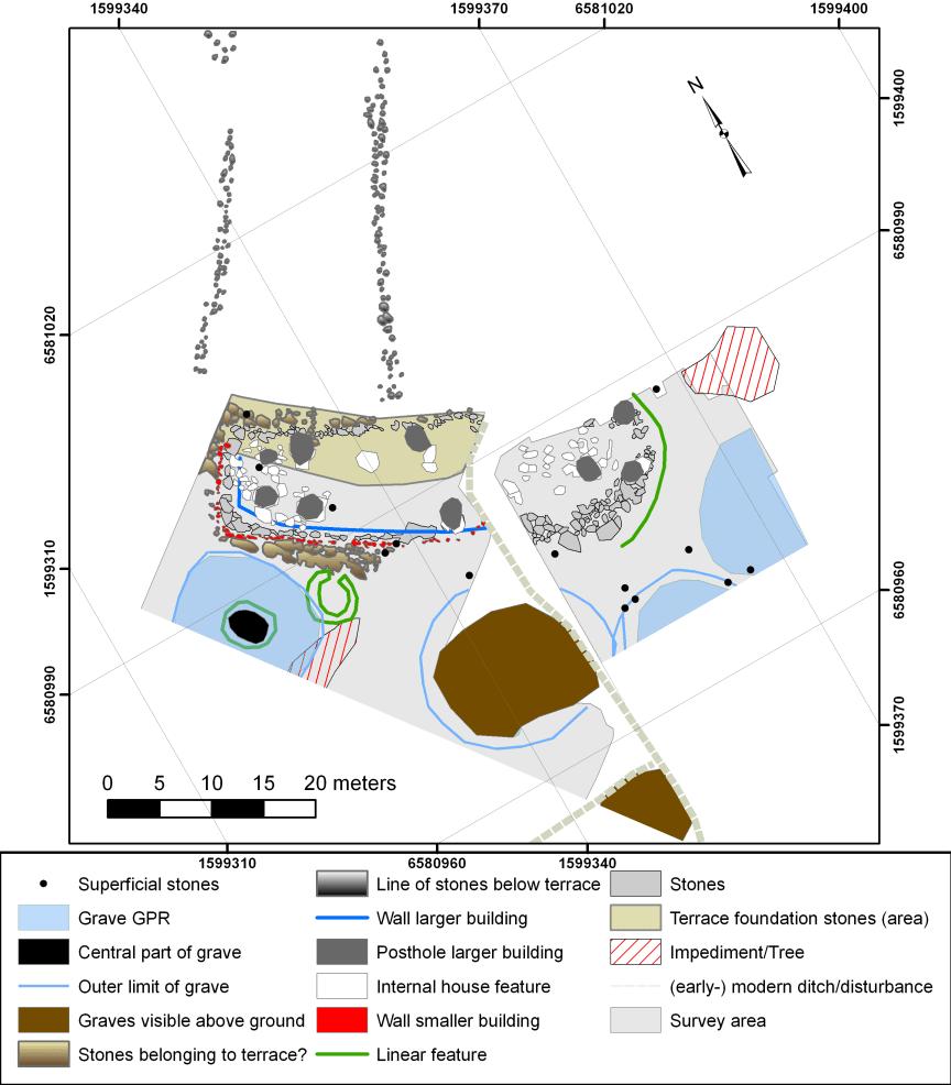 4. Interpretation of GPR data Viking age manor building (© Viberg, Runer and Kalmring 2017)