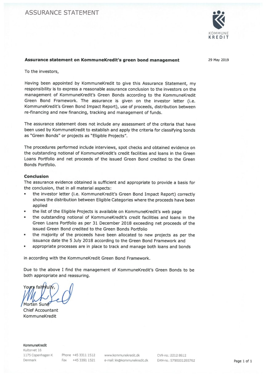 Assurance Statement 29 May 2019