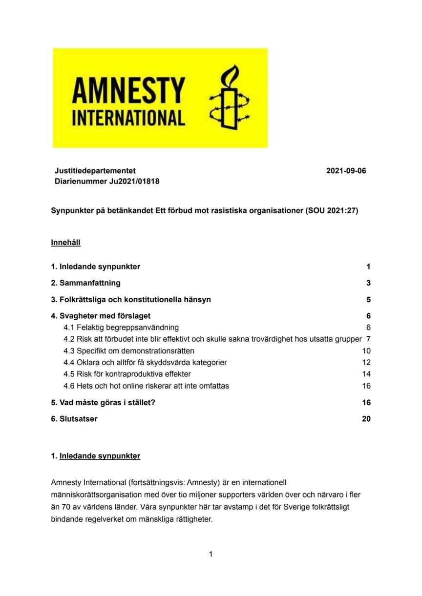 Remissvar AMNESTY Ett förbud mot rasistiska organisationer SOU 2021.27.pdf