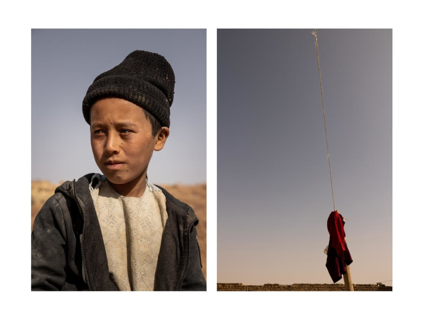 A portrait of Abdul*, 9, alongside a photo he has taken of the sky.