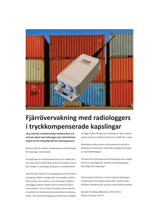 Fjärrövervakning med radiologgers i tryckkompenserade kapslingar