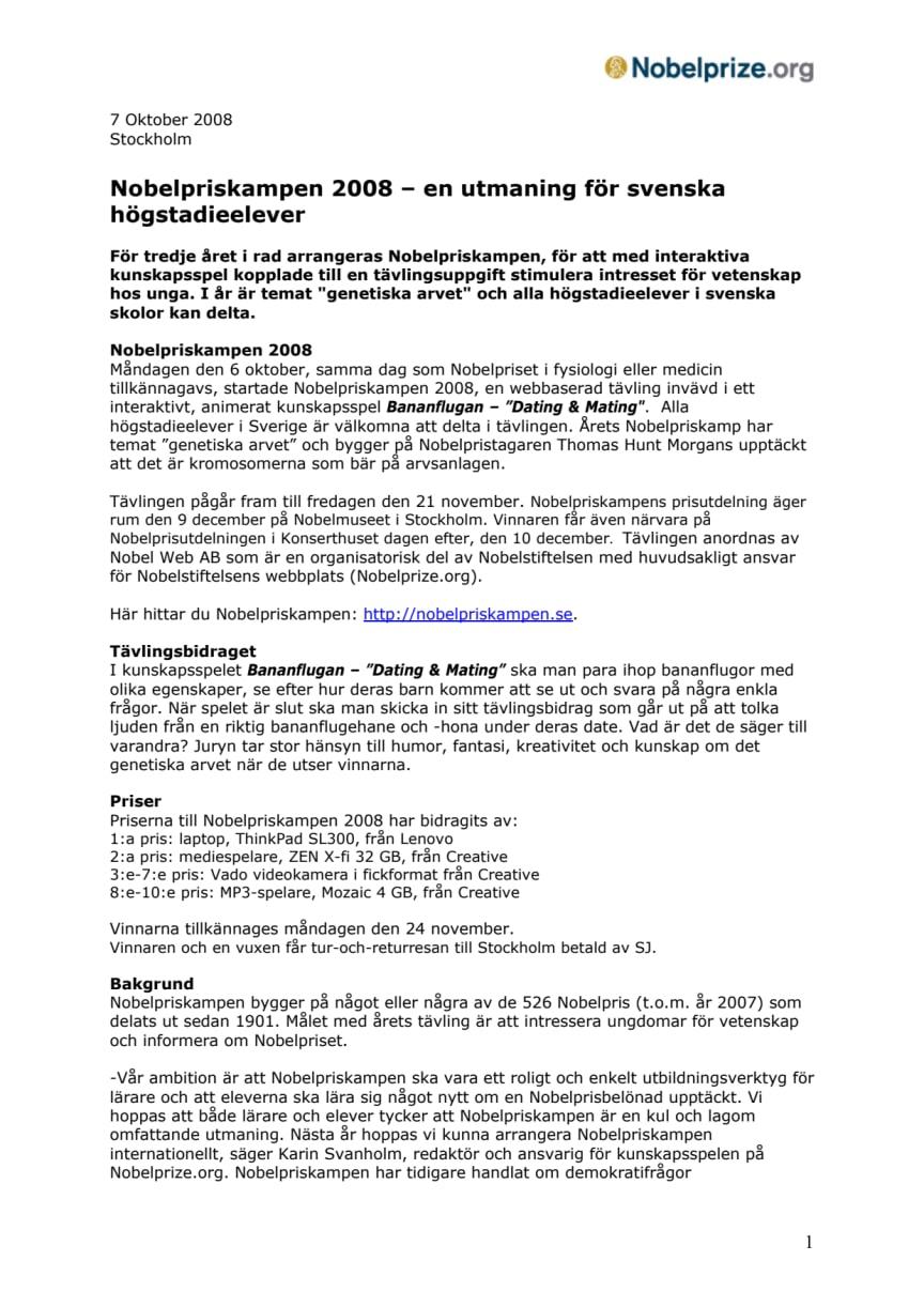 Nobelpriskampen 2008 – en utmaning för svenska högstadieelever
