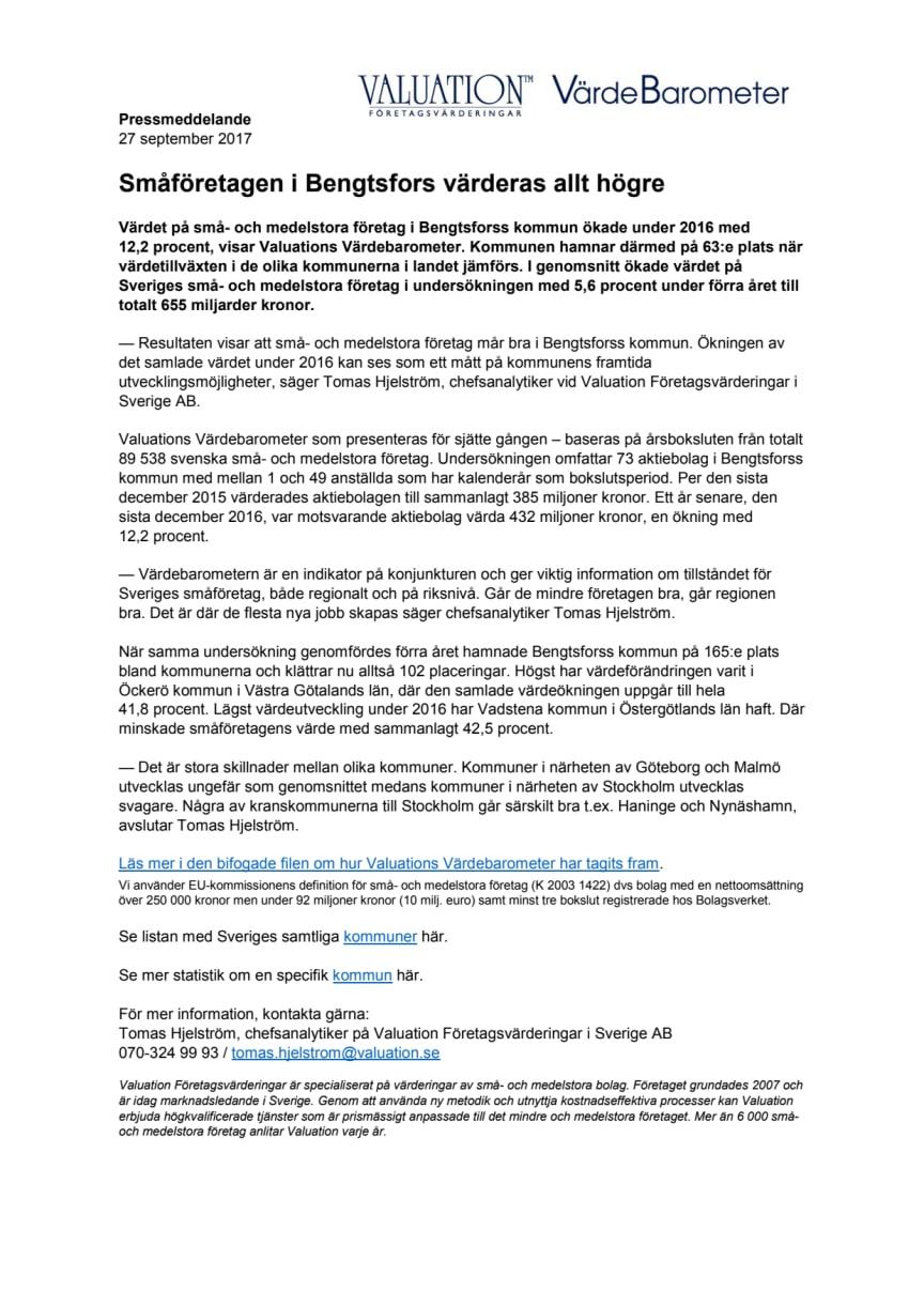 Värdebarometern 2017 Bengtsfors kommun