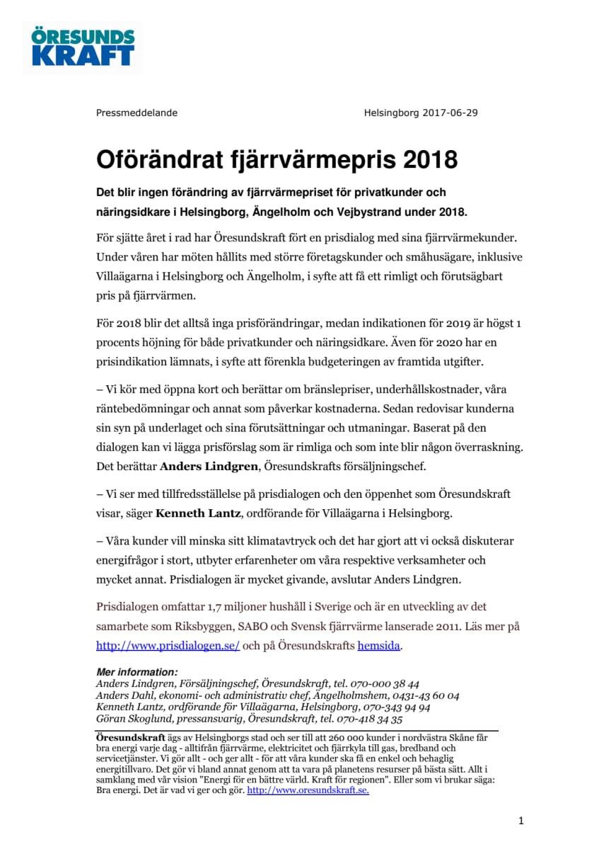 Oförändrat fjärrvärmepris 2018