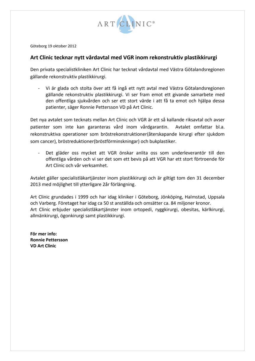 Art Clinic tecknar nytt vårdavtal med VGR inom rekonstruktiv plastikkirurgi