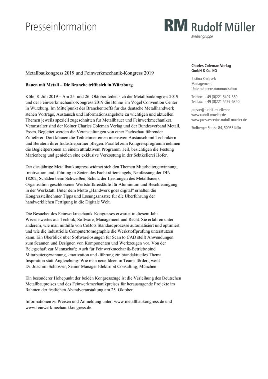 Metallbaukongress 2019 und Feinwerkmechanik-Kongress 2019