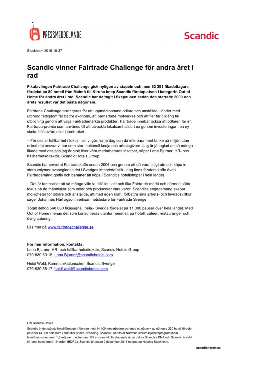 Scandic vinner Fairtrade Challenge för andra året i rad