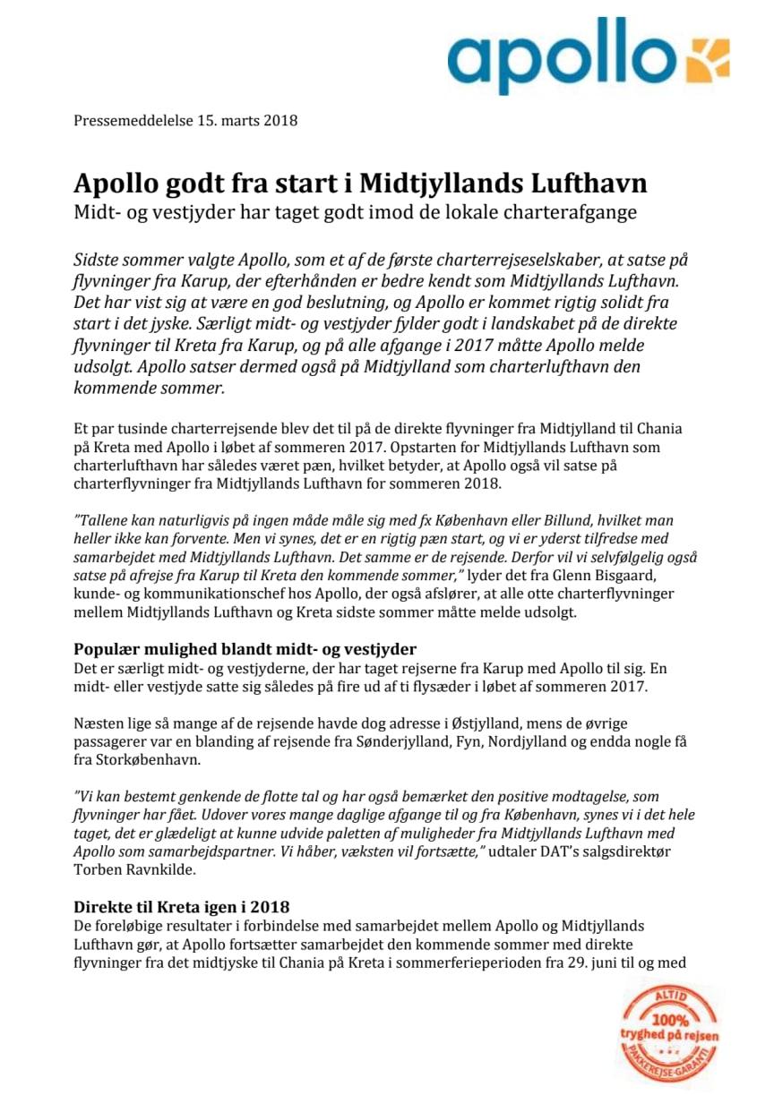 Apollo godt fra start i Midtjyllands Lufthavn