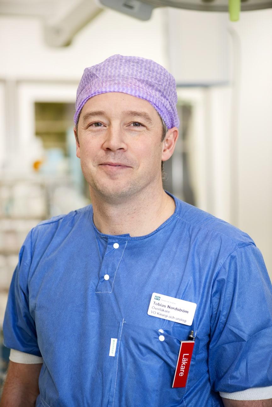 Överläkare Tobias Nordström, ansvarig för studie om nya metoder att diagnosticera prostatacancer. Porträtt.