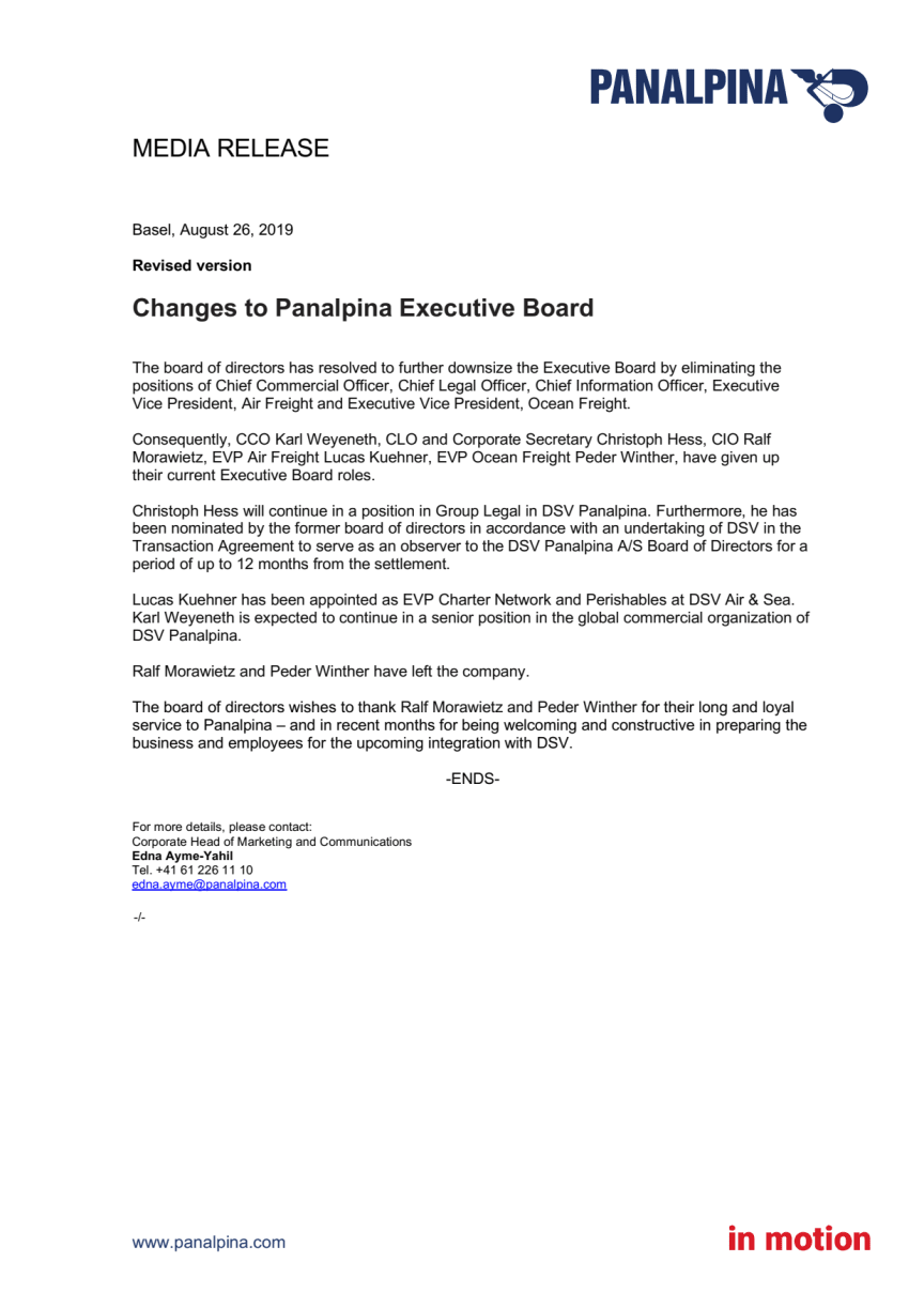 Changes to Panalpina Executive Board (Revised)