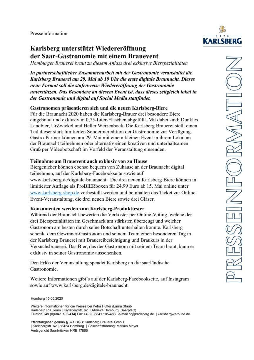 Presseinfo zur Digitalen Braunacht 2020