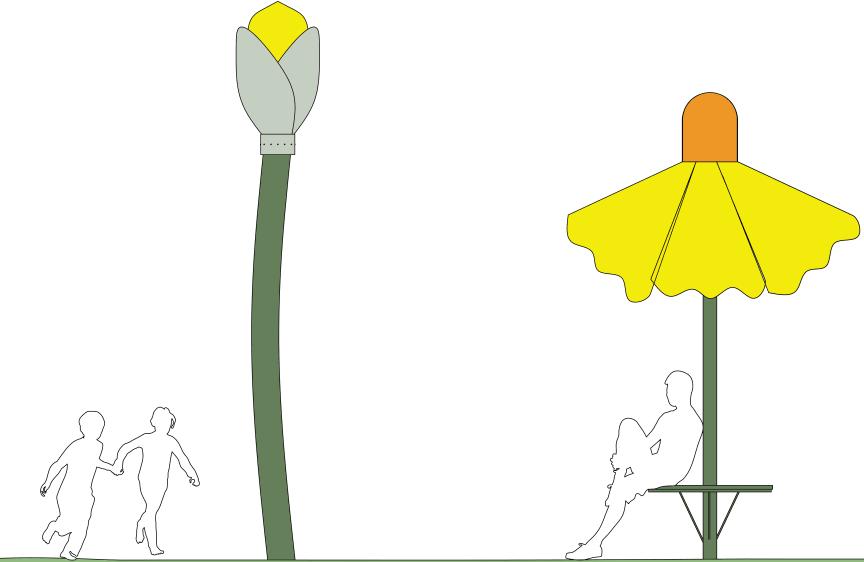 Blommande sittbänkar