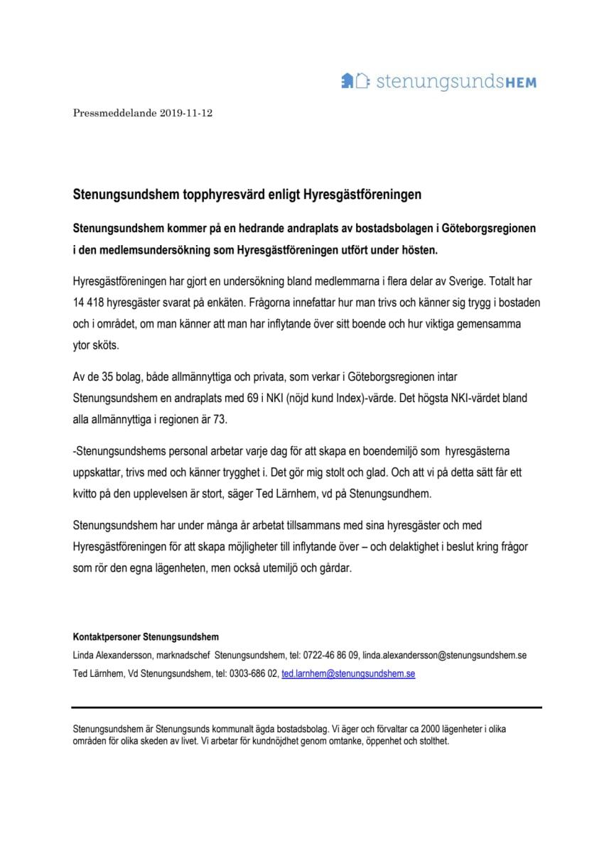 Stenungsundshem topphyresvärd enligt Hyresgästföreningen