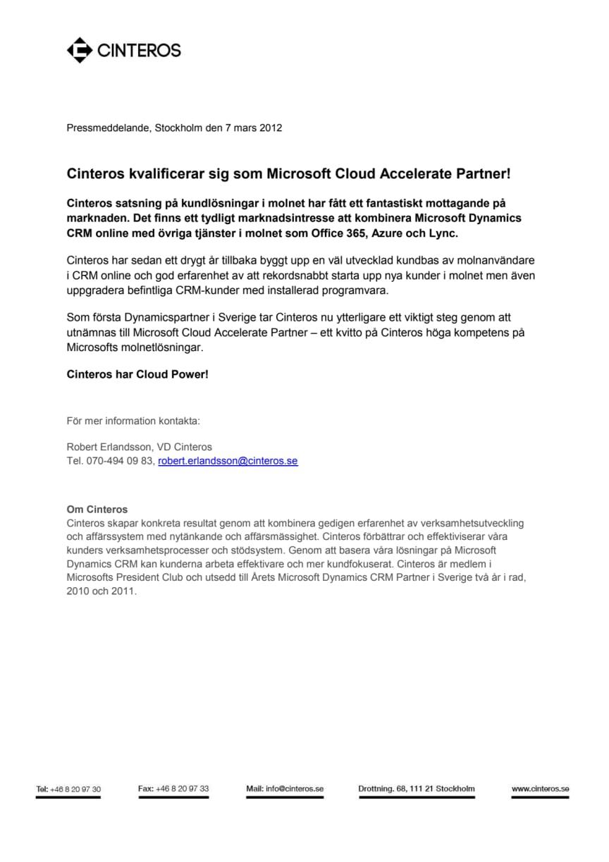Cinteros kvalificerar sig som Microsoft Cloud Accelerate Partner!