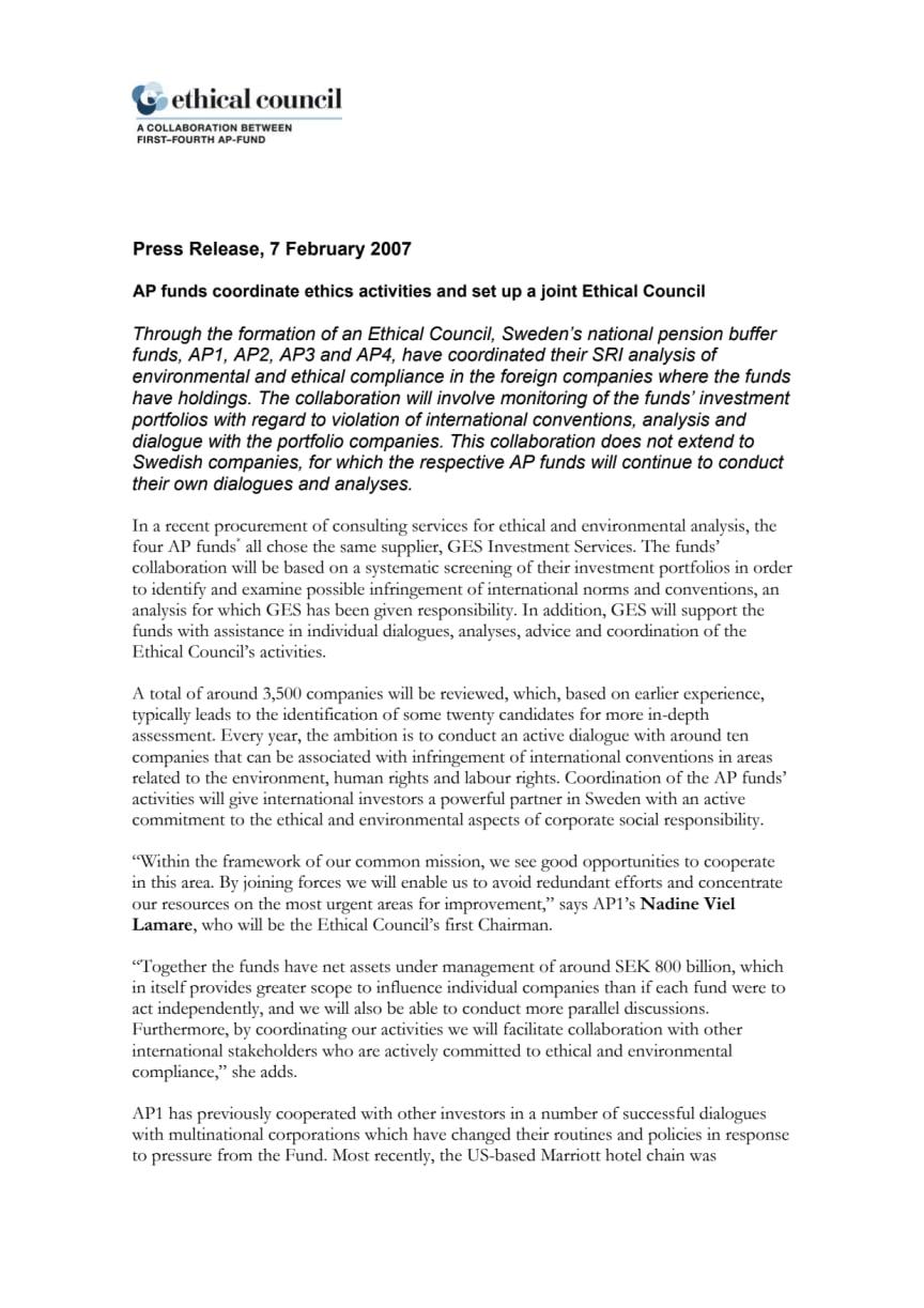 AP funds coordinate etics activities