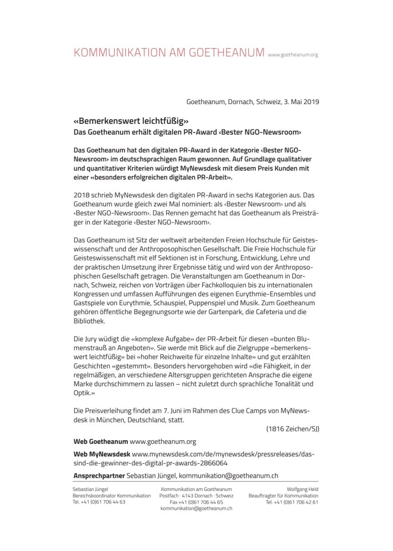 «Bemerkenswert leichtfüßig». Das Goetheanum erhält digitalen PR-Award ‹Bester NGO-Newsroom›