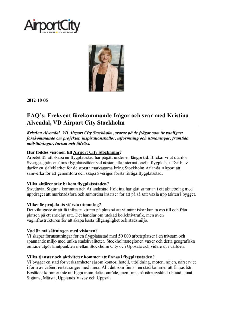 FAQs med Kristina Alvendal, VD Airport City Stockholm