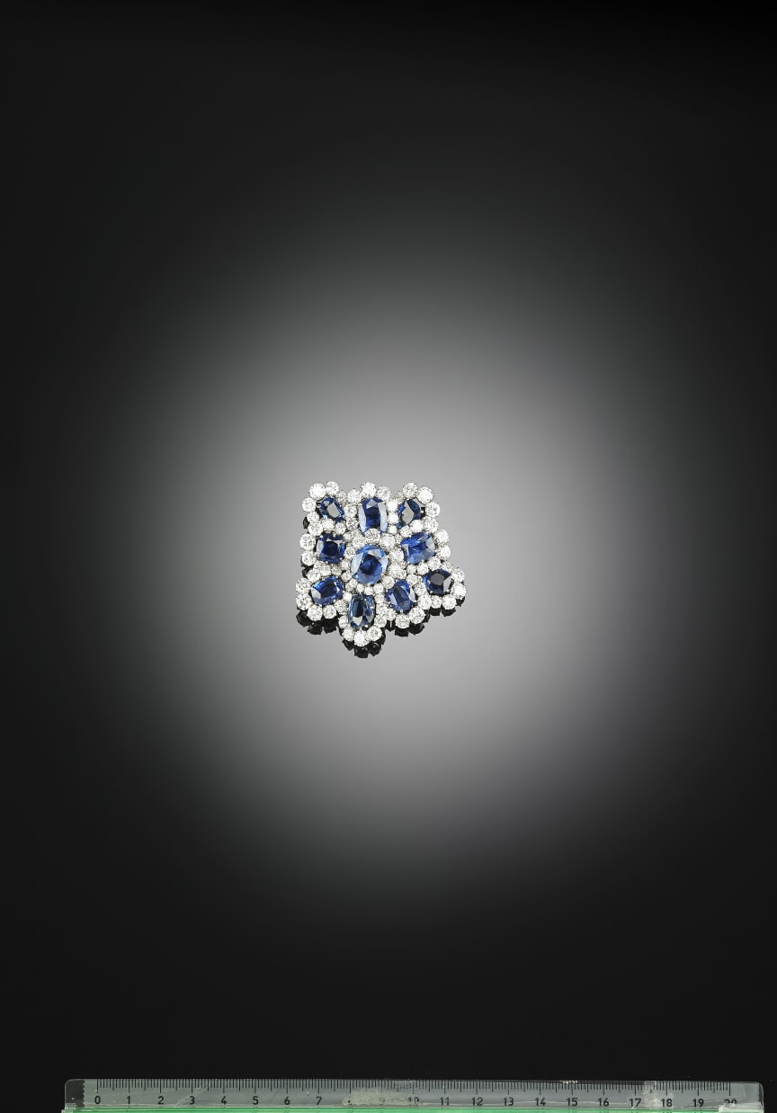 Van Cleef & Arpels sapphire and diamond brooch.