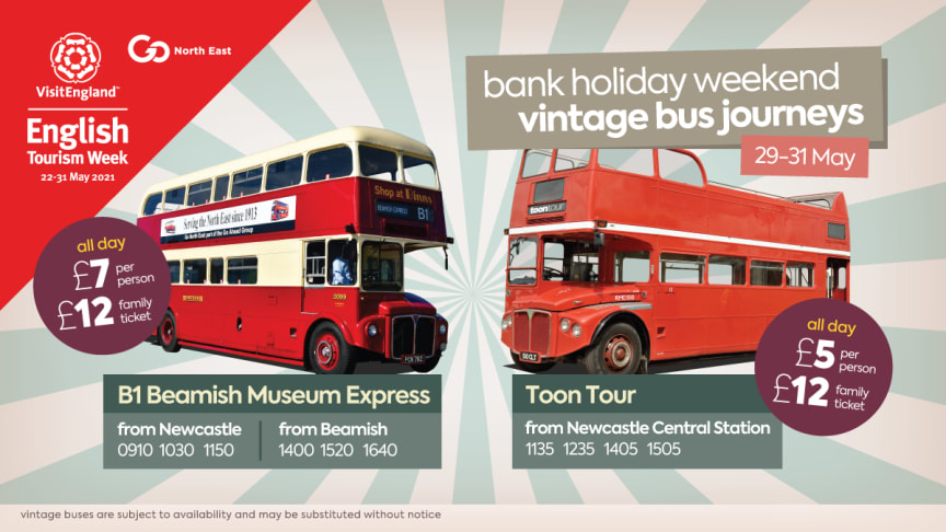 Go North East to celebrate English Tourism Week with seasonal services and vintage bus journeys this bank holiday weekend