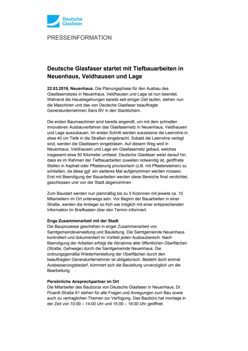 Deutsche Glasfaser startet mit Tiefbauarbeiten in Neuenhaus, Veldhausen und Lage