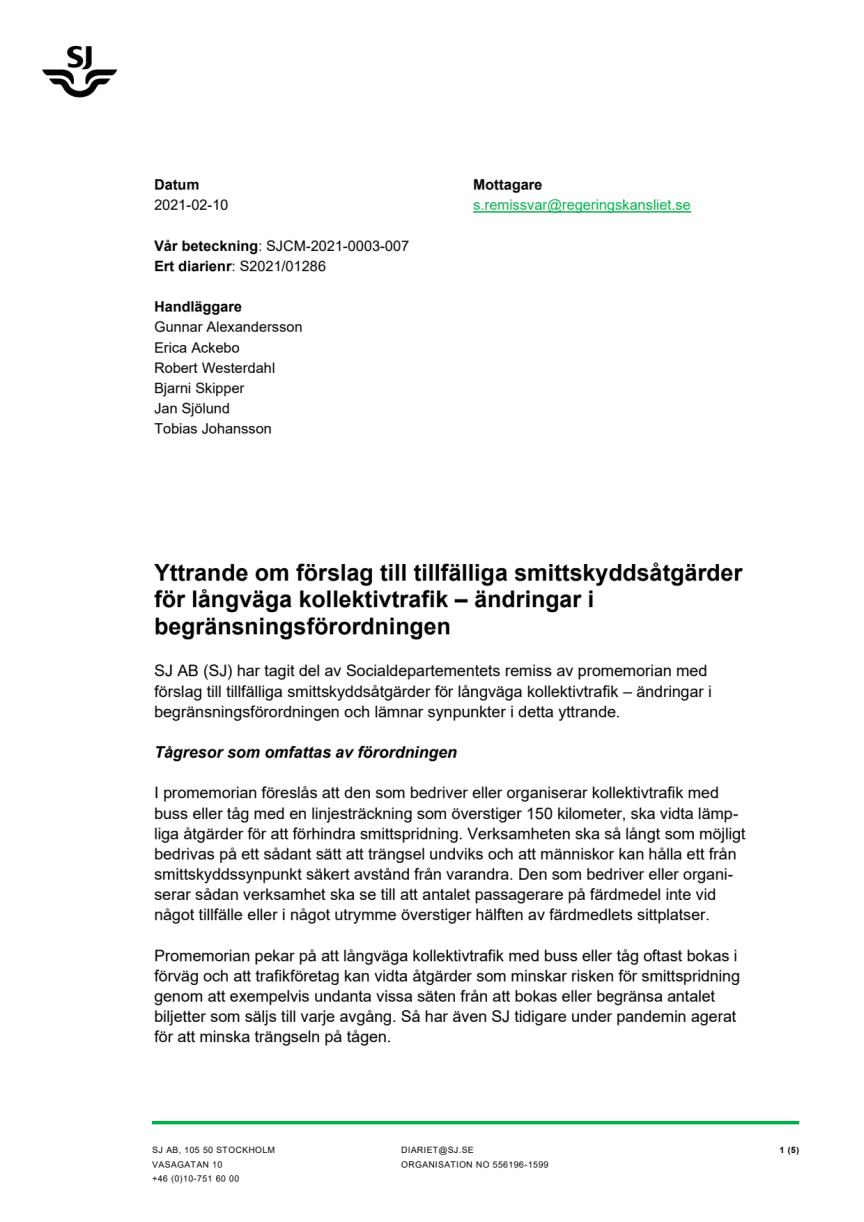 SJs remissvar på förslag till tillfälliga smittskyddsåtgärder för långväga kollektivtrafik