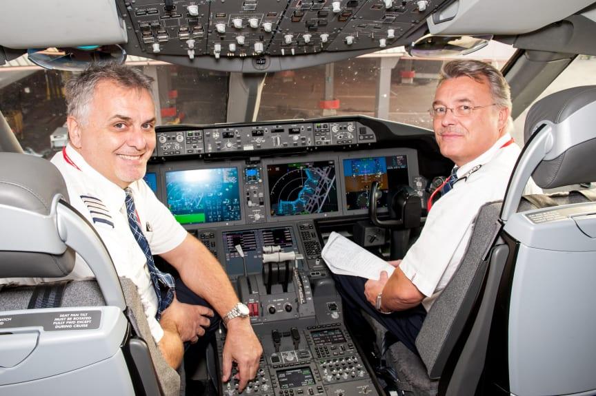 Long Haul pilots in Flight Deck