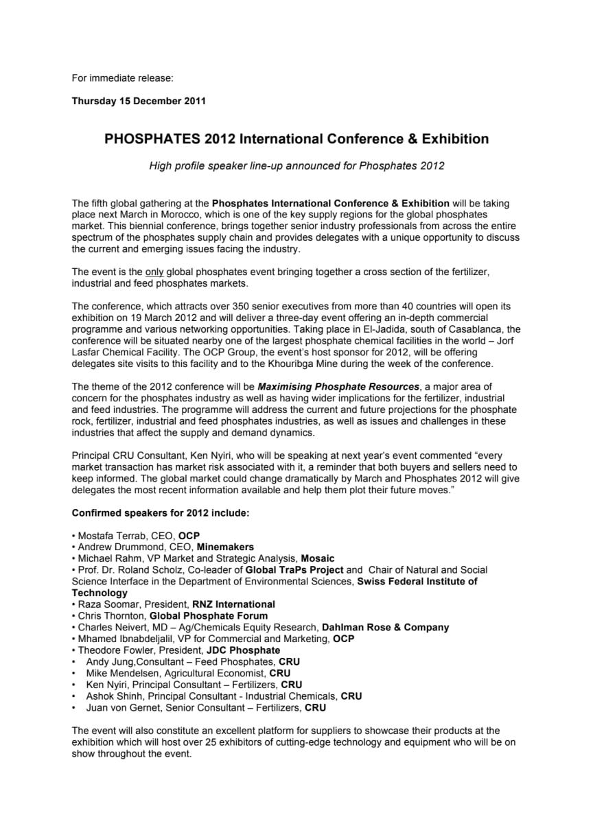 PHOSPHATES 2012 International Conference & Exhibition