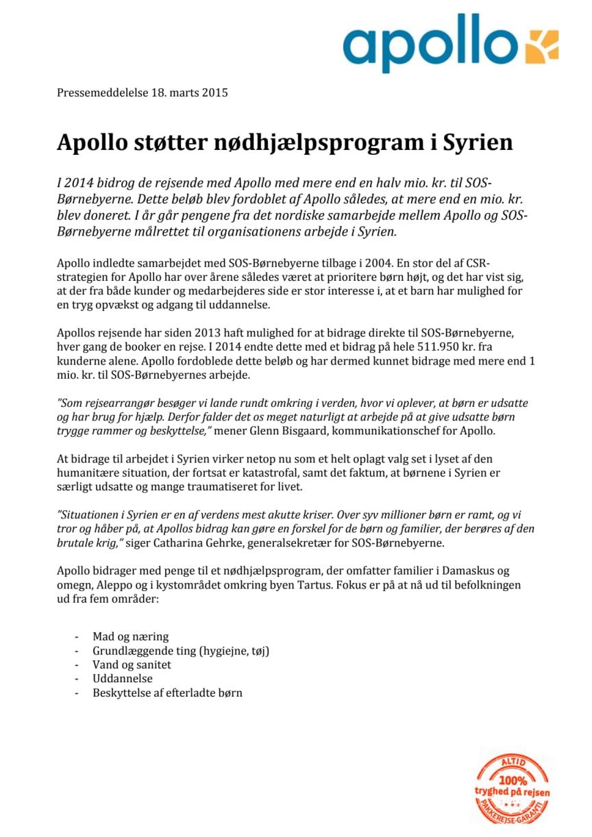 Apollo støtter nødhjælpsprogram i Syrien