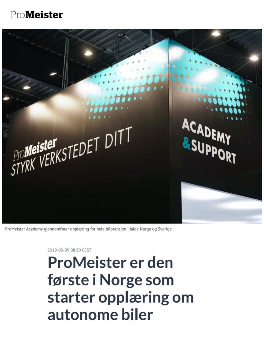 ProMeister er den første i Norge som starter opplæring om autonome biler