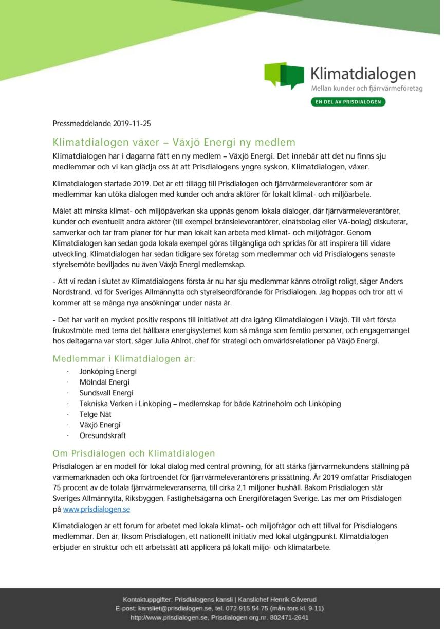 Klimatdialogen växer – Växjö Energi ny medlem