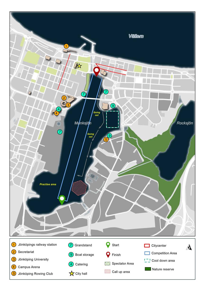 Tävlingsbanan mitt i centrala Jönköping. EUC Rowing 2019.