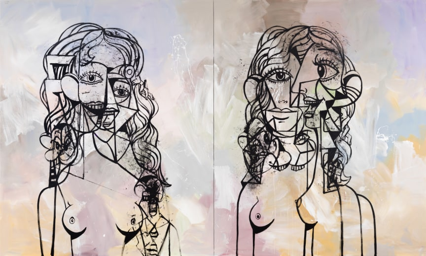 George Condo, Double Heads Composition on Abstract Field, 2017- Private Passion
