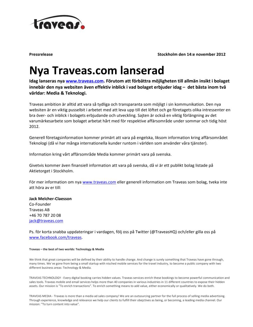 Nya Traveas.com lanserad