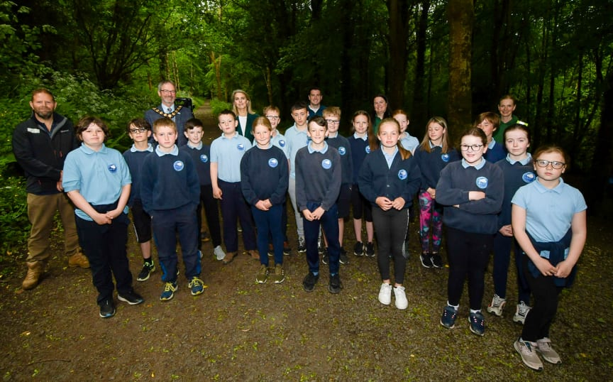 Mayor joined by Jim Marshall of the Forest Service, Lady Dunluce, Council staff and staff and pupils from Seaview Primary School