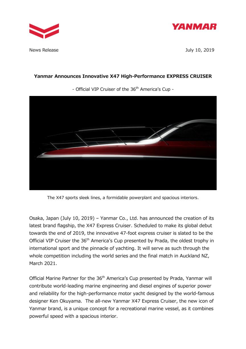 Yanmar Announces Innovative X47 High-Performance EXPRESS CRUISER