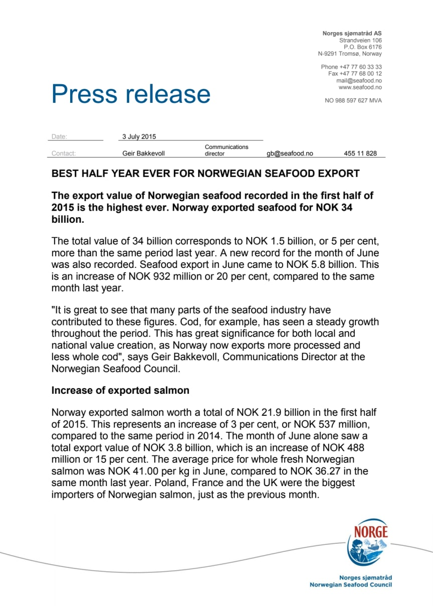 Best half year ever for Norwegian seafood export
