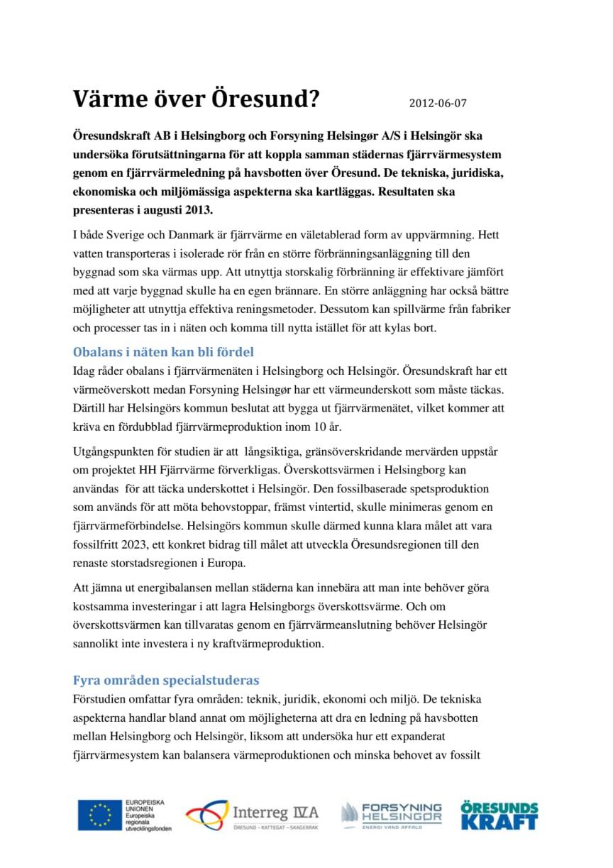 Projektbeskrivning HH Fjärrvärme