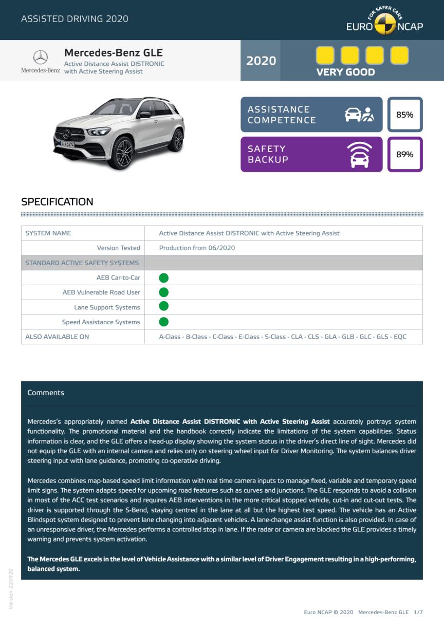 Mercedes-Benz GLE Euro NCAP Assisted Driving Grading datasheet
