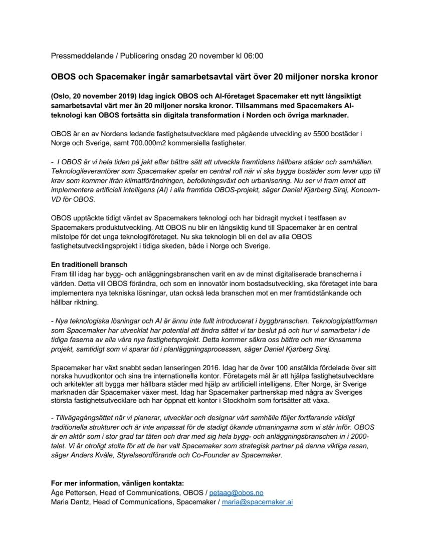 OBOS och det skandinaviska AI-bolaget Spacemaker ingår samarbetsavtal värt över 20 miljoner norska kronor