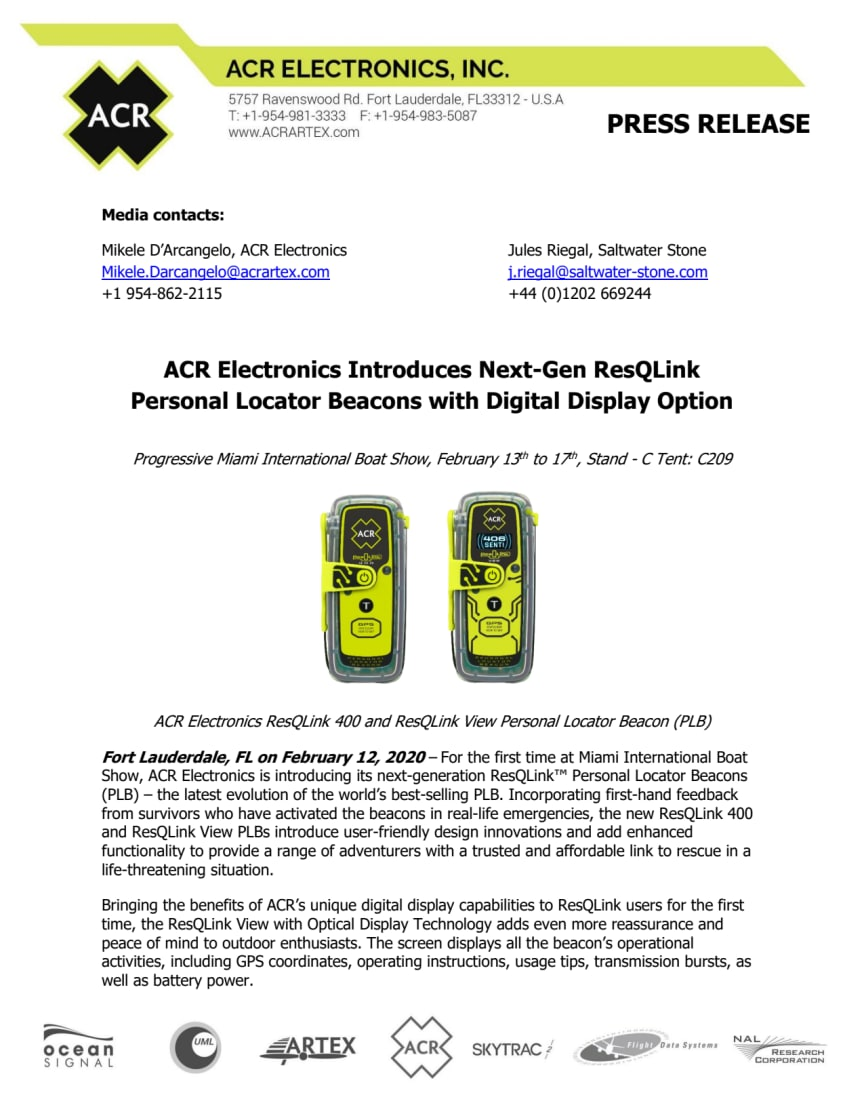 ACR Electronics Introduces Next-Gen ResQLink Personal Locator Beacons with Digital Display Option