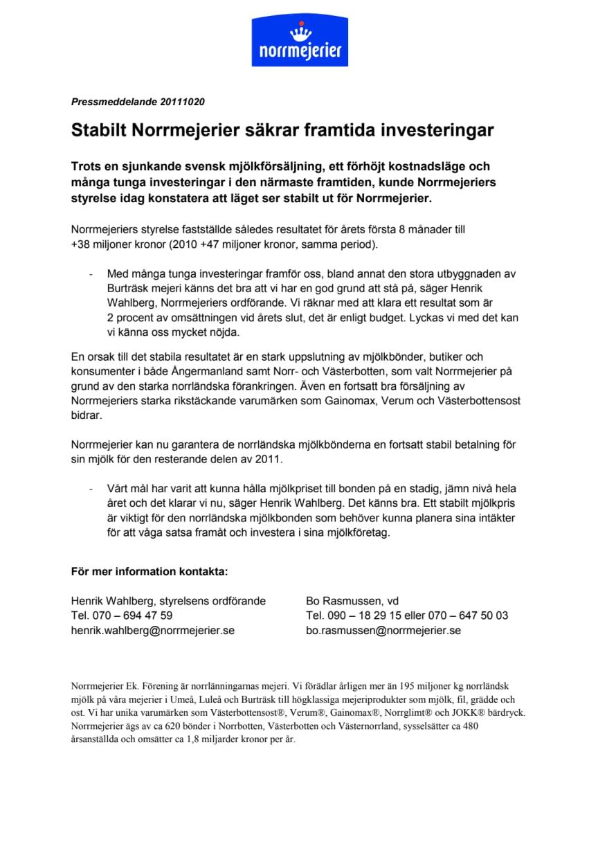 Stabilt Norrmejerier säkrar framtida investeringar