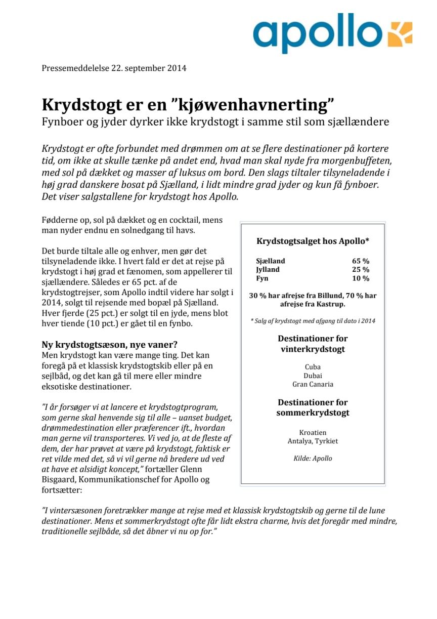 """Krydstogt er en """"kjøwenhavnerting"""""""